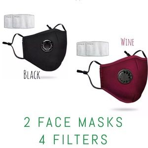 Accessories - 💎DEAL💎 2 Washable Black and Wine Face Covers